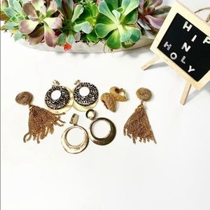 CHICO'S CLIP ON EARRINGS GOLD TONES 4 PAIRS